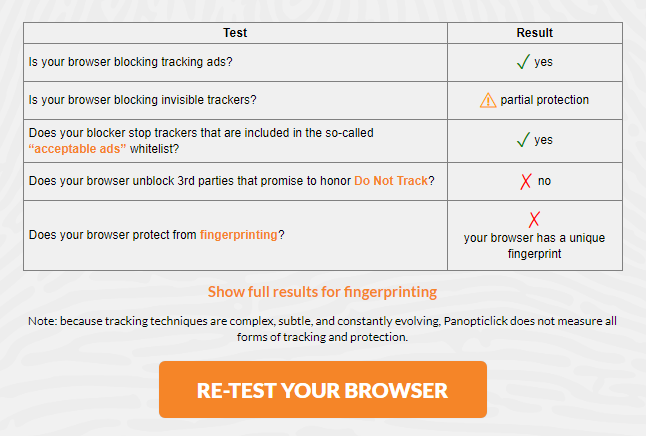 Panopticlick browser data leak test