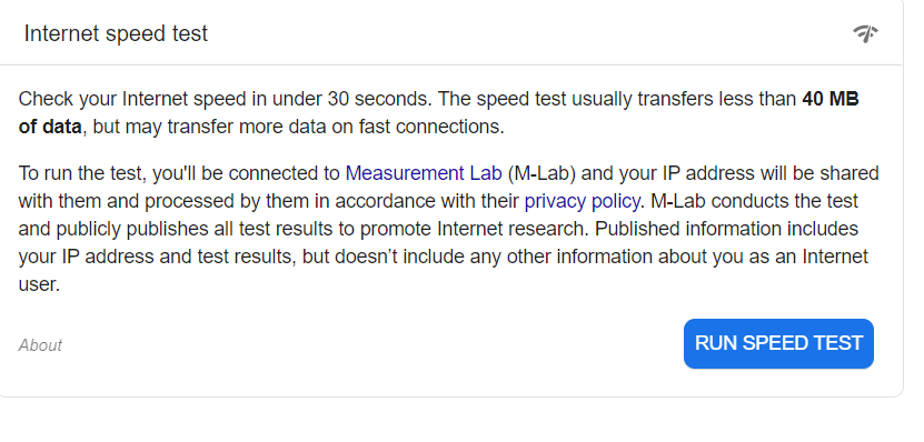 Carry out Internet Throttling Test using Google speed test tool