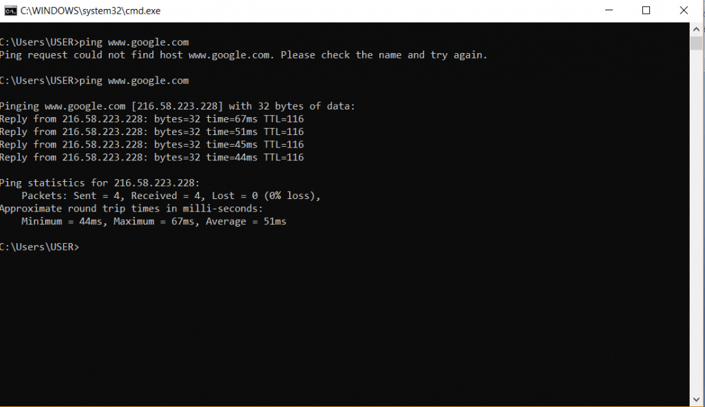 Internet speed test on Command Prompt 2-min