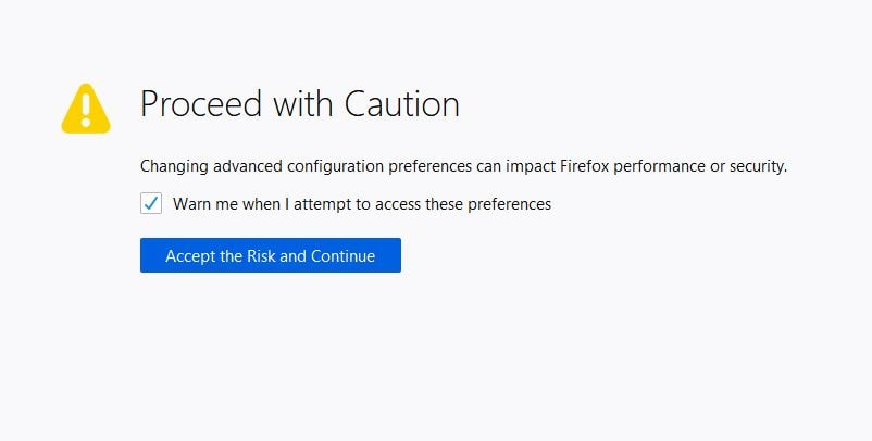 Firefox about:config privacy tweaks warning