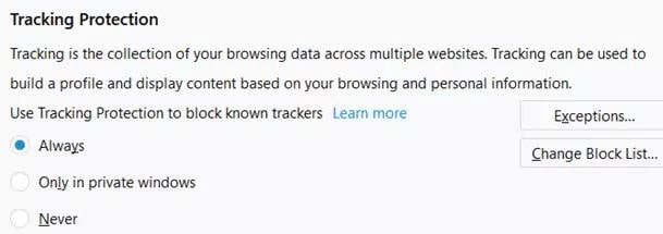 Firefox Tracking Protection Settings