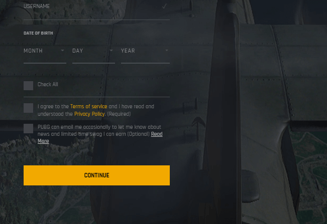 PUBG account creation agreeing to the terms of service and policy step