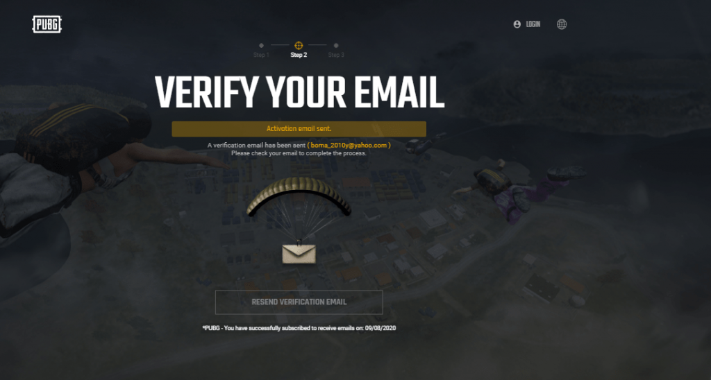 PUBG requires you to confirm your email for account creation