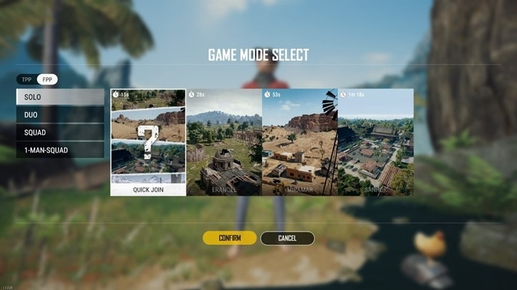 Multiple Games Modes of PUBG Lite: Solo, Duo, Squad, 1-Man-Squad