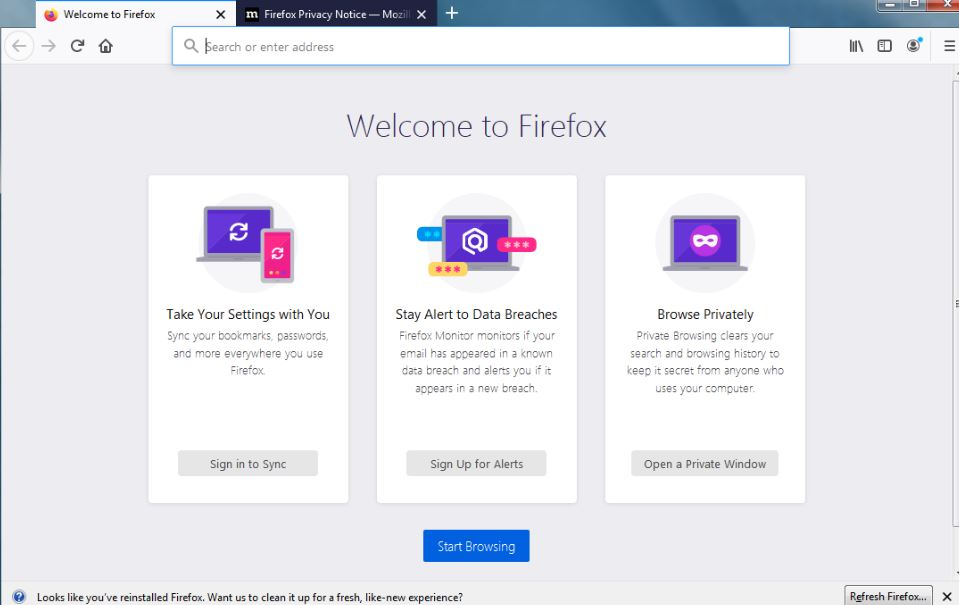Mozilla Firefox first look after installation