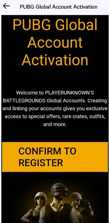 Confirm PUBG email for account setup