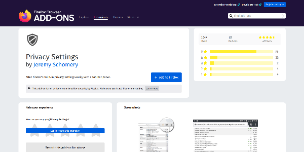 Privacy Settings extension for Mozilla