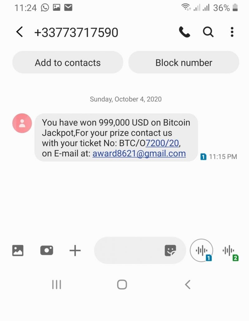 real text message sent by bitcoin jackpot scammers