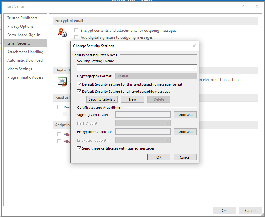 Change Security Settings in Outlook
