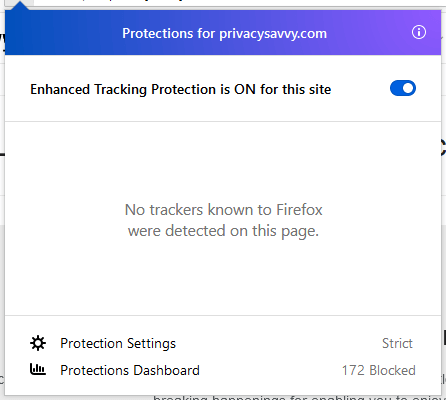 Disable Firefox content blocking for specific websites