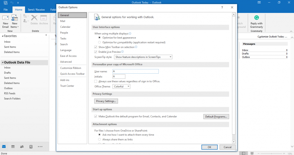 Setting up Outlook for encrypting an email