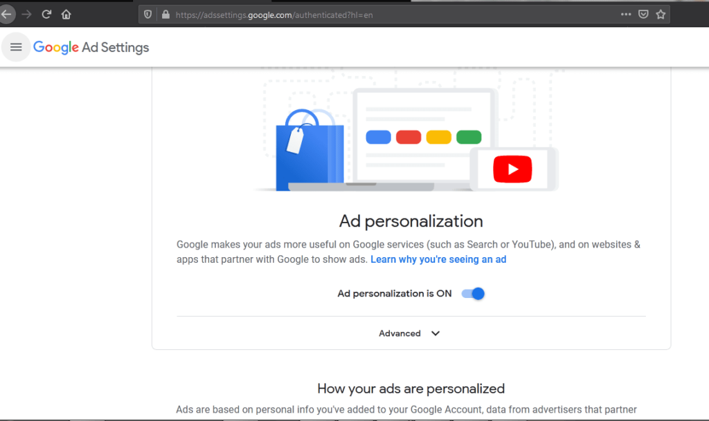 Turn of ad personalization
