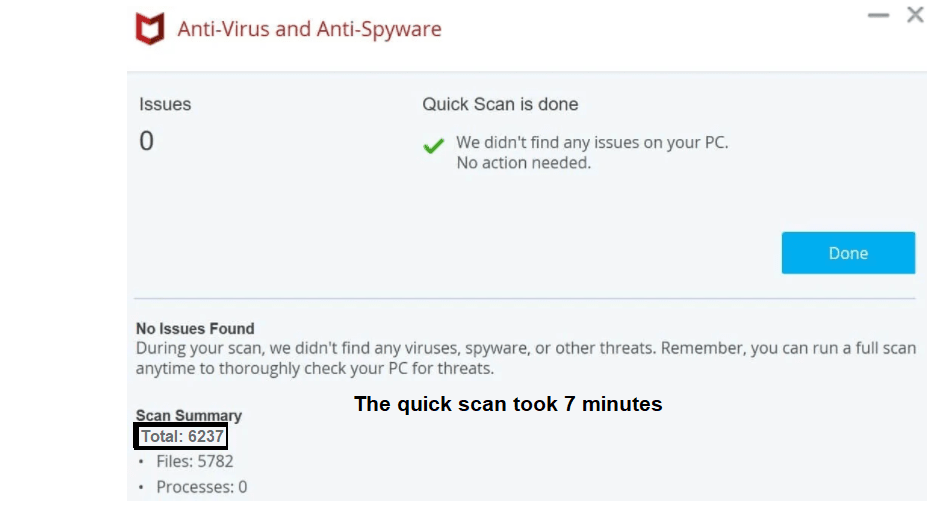 McAfee quick scan